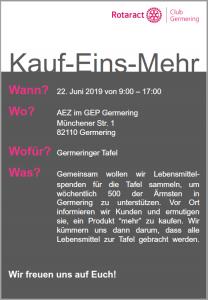 Kauf-Eins-Mehr-Aktion @ AEZ im GEP Germering